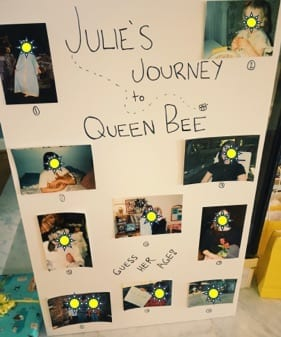 Bee-themed bridal shower game with photos